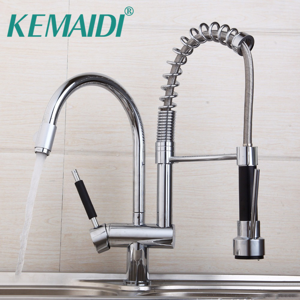 KEMAIDI Modern Chrome Kitchen Mixer Valve Water Taps Pull Out Design ...
