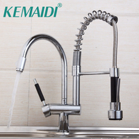 Pull Out Swivel Kitchen Sink Tap Chrome Faucet Leon61