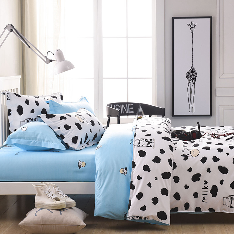 Wongs Brand Milk Cow Bedding Set Cartoon Duvet Cover Pillowcases Bed Sheet  Single Full Queen King Size 3/4PCS Bedclothes New In Bedding Sets From Home  ...
