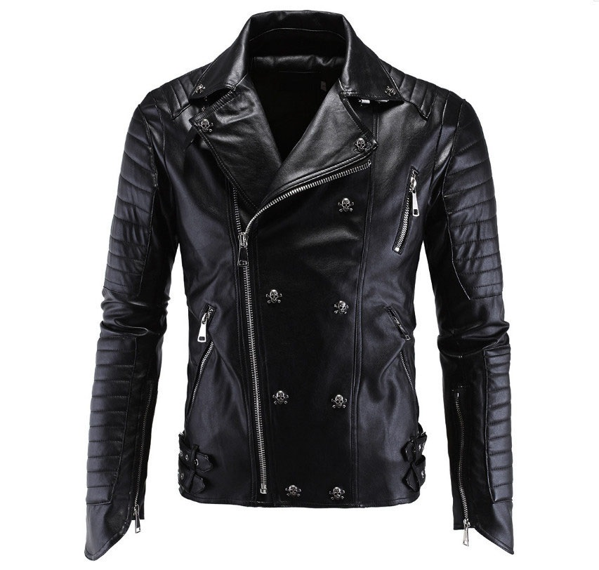 54c688e2f890 Icpans Punk Pu Men Leather Jacket Veste Cuir Homme PU Leather Skull  Motorcycle Jackets leather Coats