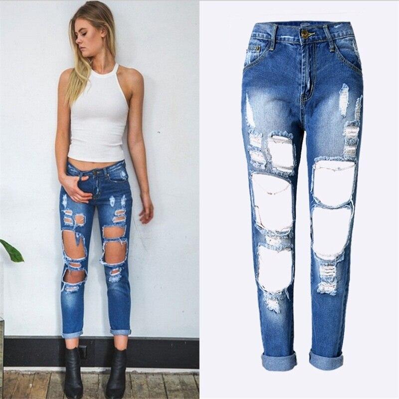 2017 Hot Sale Women Fashion Design Holes Jeans Casual loose straight pants Ladies Cotton Denim Pants