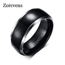 Zorcvens anéis de titânio masculino preto noivado anéis de casamento jóias 8mm de largura alta polido anel alta qualidade 100% titânio