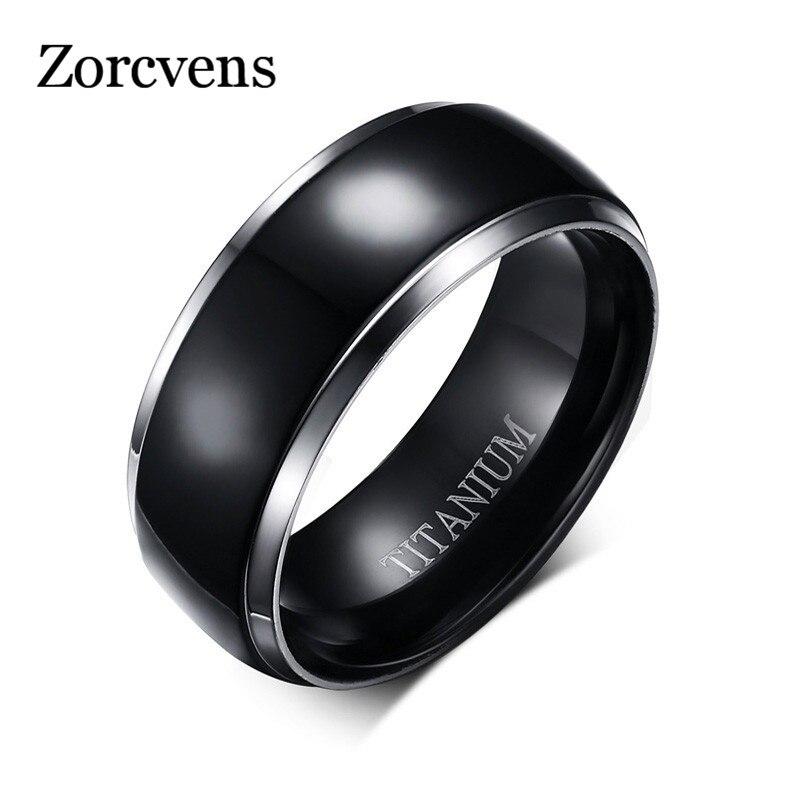 ZORCVENS Men Titanium Rings Black Men Engagement Wedding Rings Jewelry 8mm Wide High Polished