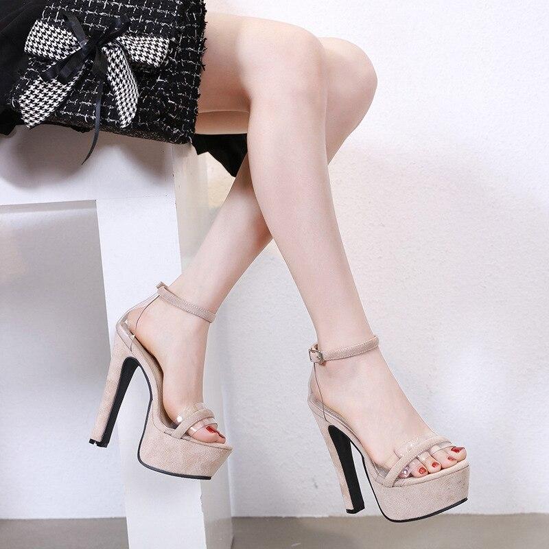 High Heel Sandal For Women Black Platform Sandals Velvet Shoes Summer Heels Suit Female Beige 2019 Women's Heeled Espadrilles(China)