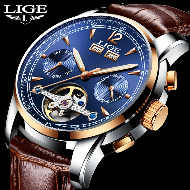New LIGE Mens Watches Top Brand Luxury Automatic Watch Men Waterproof Military Sport Clock Man Leather Business Wrist watches xinge top brand luxury leather strap military watches male sport clock business 2017 quartz men fashion wrist watches xg1080