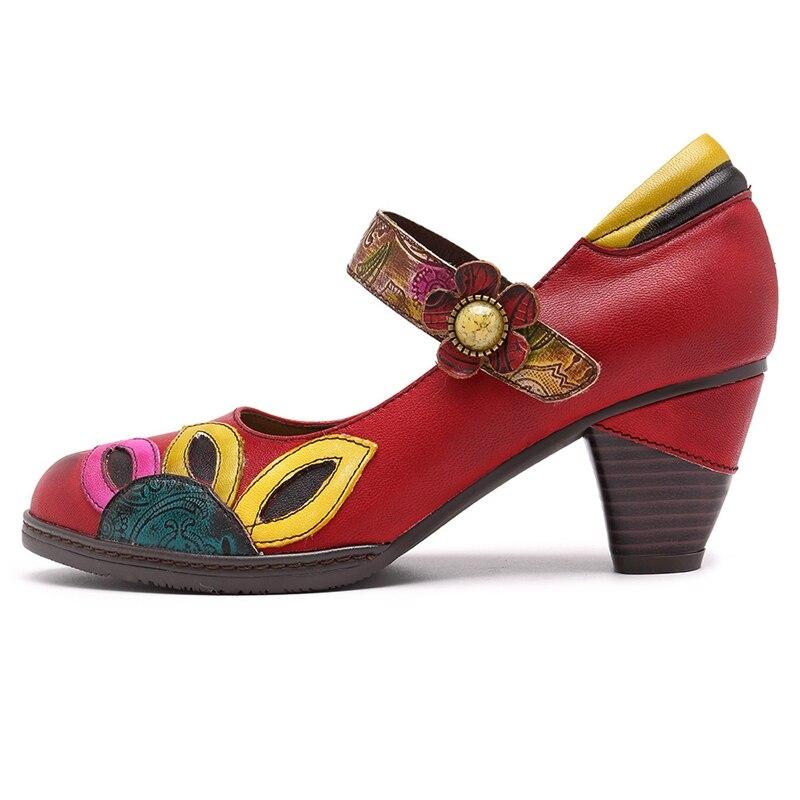 Tacón Tobillo La Retro Cuero Mujer Mary Vintage Zapato Jane Multiple Medio De Bombas Impreso Tacones Zapatos Bucle Gancho 2019 Genuino wq8xZfax