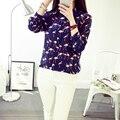 Nova pattern100 % de seda feminino longo-luva camisa das mulheres conforto elegante moda camisas crepe de chin malha camisas de seda blouses-b144