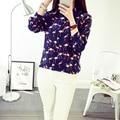 Nueva pattern100 % de seda femenino de la largo-manga de la camisa de las mujeres de confort elegante camisas de la manera camisas de punto de seda del crepe de la barbilla blouses-b144