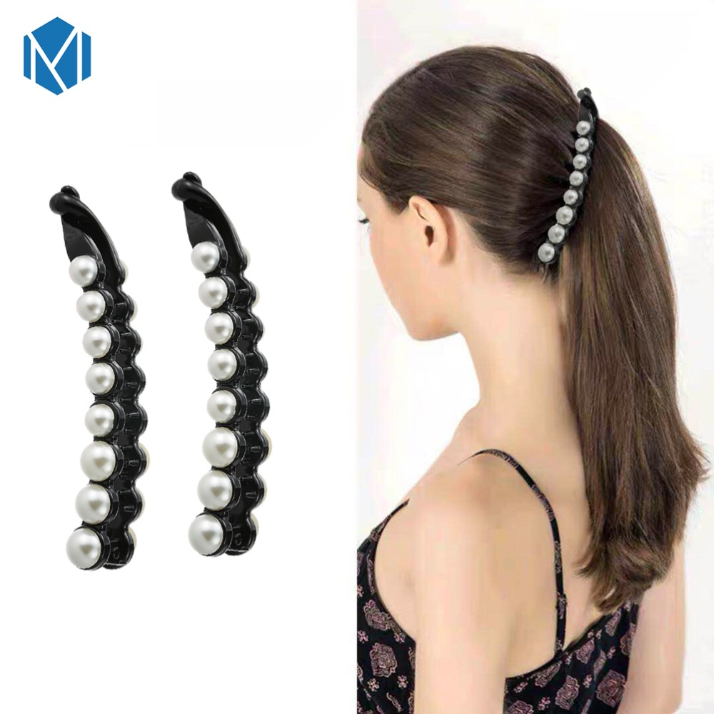 1 Pc Fashion Banana Hair Clips For Women Hair Accessories Ornaments  Ponytail Holders Pearls Hair Claw Hairpin Barrette