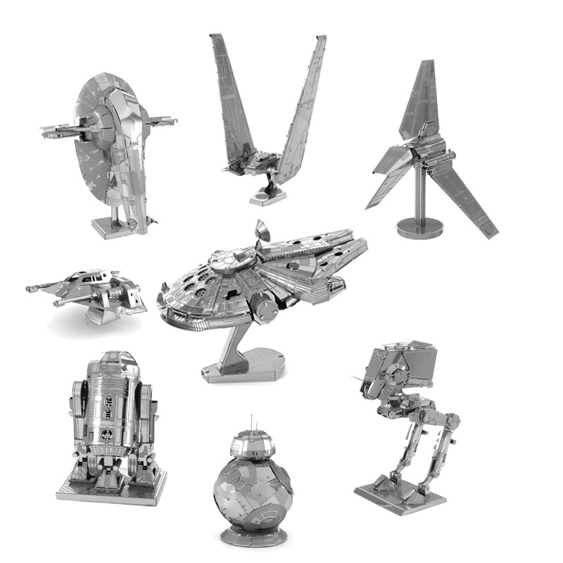 Star Wars Miniature 3D Metal Puzzle Building Kits Fighter 3D Jigsaw Puzzle Educational Toys for Gift Millennium Falcon Model Toy barrett sniper rifle jigsaw puzzles educational toys gun model stainless steel diy assembly 3d metal puzzle for children