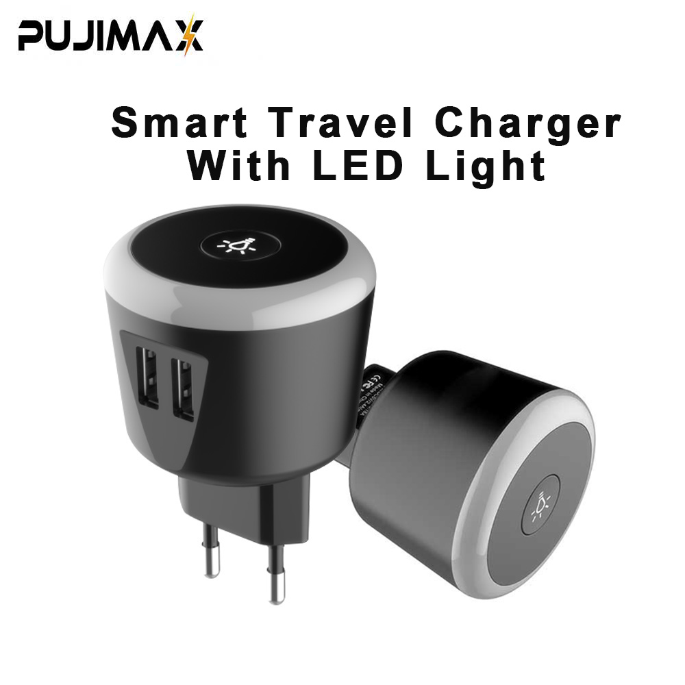 PUJIMAX 5V2 4A Smart travel charger with LED night Light dual usb Charging For iPhone Samsung Xiaomi Travel Universal Charger in Mobile Phone Chargers from Cellphones Telecommunications