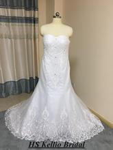 Custom Made sevgiliye Mermaid düğün elbisesi kuyruk boncuklu üst Vestido De Novias HS kellio