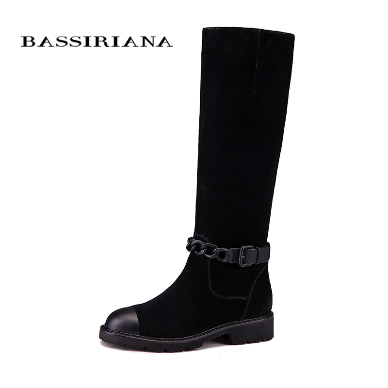 Women boots Genuine leather Winter shoes woman Mid calf 35 40 Fashion high quality Free shipping BASSIRIANA