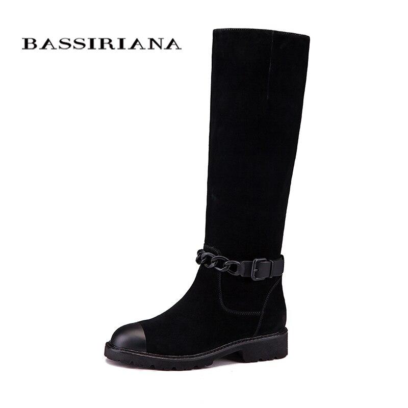 Femmes bottes D'hiver en cuir Véritable chaussures femme mi-mollet 35-40 de haute qualité livraison gratuite BASSIRIANA