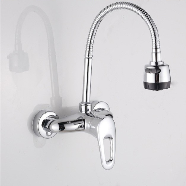 Popular Single Handle Dual Hole Kitchen Faucet With Wall Mounted