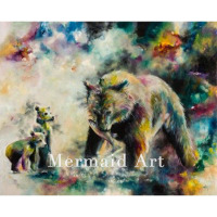 Hand Painted Various of Animals Black bear Flamingos eagle and peacock Oil Painting on Canvas art wall picture Living room decor