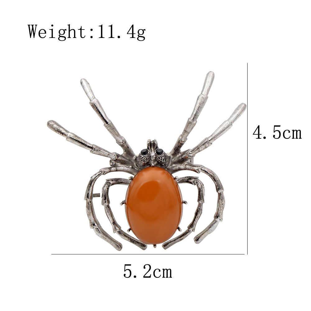 Cindy Xiang Baru 2018 Resin Spider Bros untuk Wanita Fashion Vintage Serangga Perhiasan Halloween Bug Pin Jeans Aksesoris Hadiah
