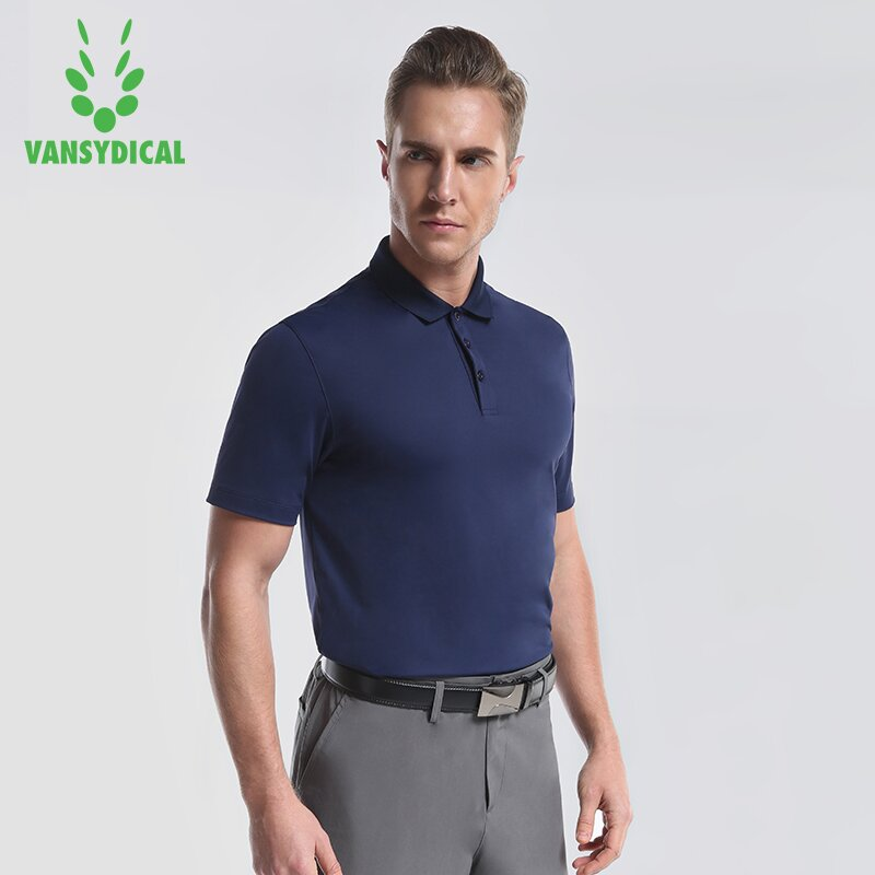 Vansydical Sports Polo Shirts mens Short Sleeve Golf Shirts Quick Dry Outdoor Male Polo Shirt Short Sleeve Sportwear Tops