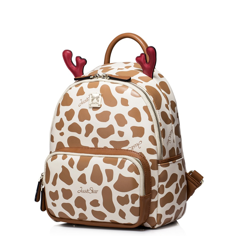 ФОТО Women 2016 New Style Leopard Cute Cartoon Leather Backpack Fashion Travel Casual Daypack Girls School Bookbag Student Book Bag