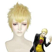 P5 페르소나 5 ryuji sakamoto 가발 스타일 짧은 황금 금발 내열성 헤어 코스프레 의상 가발 + 가발 모자
