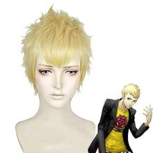 P5 Persona 5 Ryuji Sakamoto peruki stylu krótki złoty blond żaroodporne włosy Cosplay kostium peruka + peruka Cap