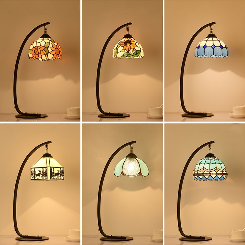 European style bedroom garden retro study table lamp coffee shop glass iron bar creative bedside table light ZA1115935