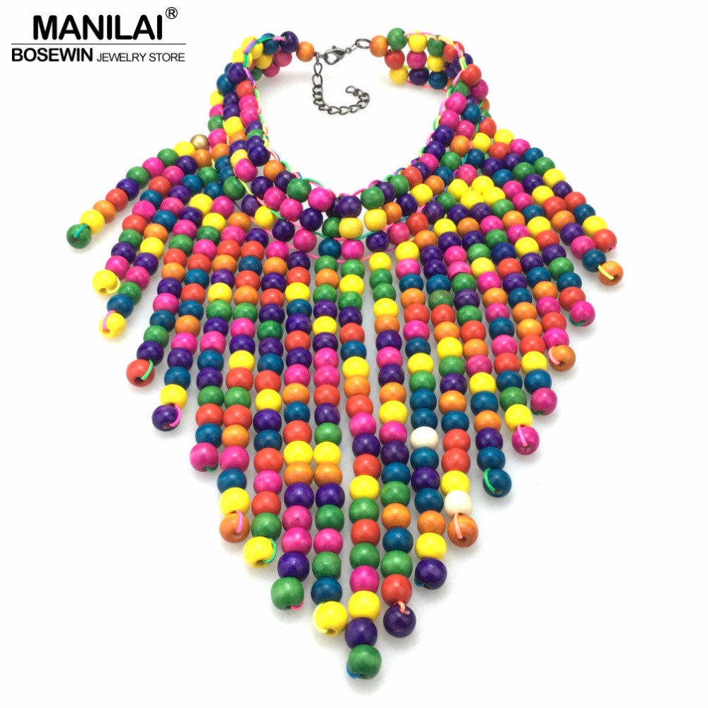 MANILAI Wood Beaded Statement Necklaces For Women Bohemia Multicolor Beads Long Pendants Bib Necklace Choker Handmade Jewelry vintage tribal jewelry natural yak bone carving totem beaded strand choker chunky statement bib necklace for women men