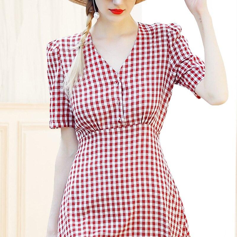 Robe So7890 Vintage Profonde Femmes 2018 Rouge V D'été Orange Blanc Plaid Style Voir Cou Chic q61I4wBw