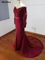 Burgundy Long Sleeves Mermaid Bridesmaid Dresses 2017 Vintage Arabic Plus Size Maid Of Honor Party Gowns