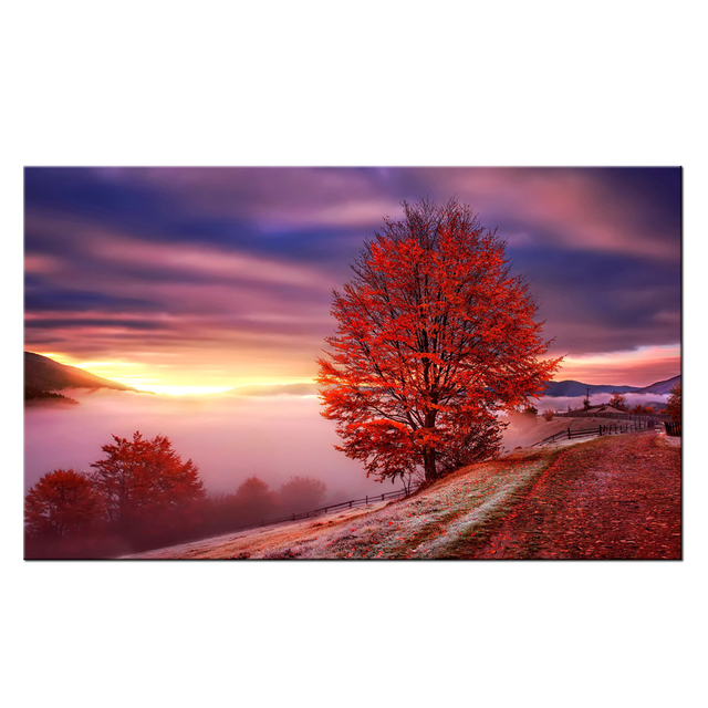 grand paysage toile art lever du soleil rouge arbre for t photo prints mer nuages nature paysage. Black Bedroom Furniture Sets. Home Design Ideas