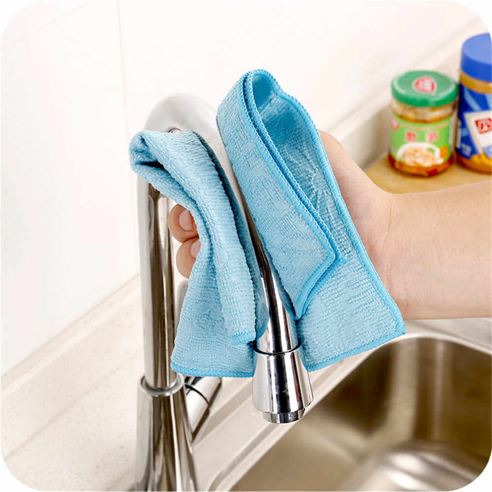 High Efficient Anti-grease Color Dish Cloth Bamboo Fiber Washing Towel Magic Kitchen Cleaning Wiping Rags 2019 Hot Sale random