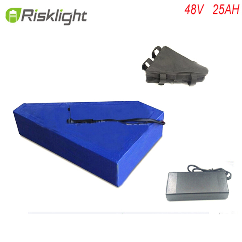 High capacity 48v 1000w lithium ion battery with triangle battery bag for electric bike battery 48v 25ah ebike battery pack 48 volt li ion battery pack electric bike battery with 54 6v 2a charger and 25a bms for 48v 15ah lithium battery