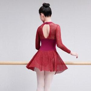 Image 2 - Профессиональный балетный купальник для взрослых, сексуальное кружевное балетное платье для женщин, тренировочные костюмы для учителя, женская танцевальная одежда черного и красного цвета