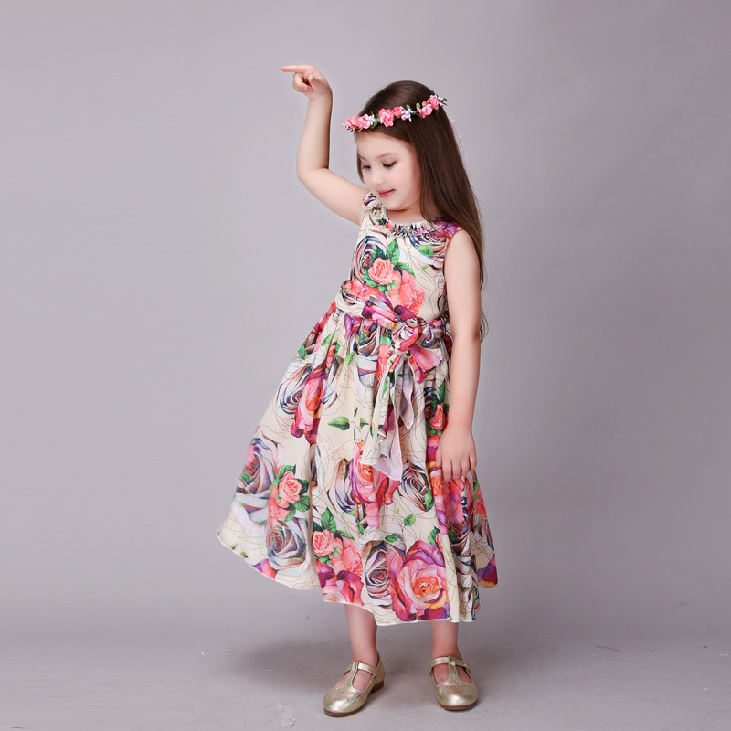 cb2bd2e32a5 2017 Summer Vacation Beach 3 12T Girls Dress Bohemian Style Big Flower  Printing Long Sweet Troddlers Tulle Dress Children Cloth -in Dresses from  Mother ...