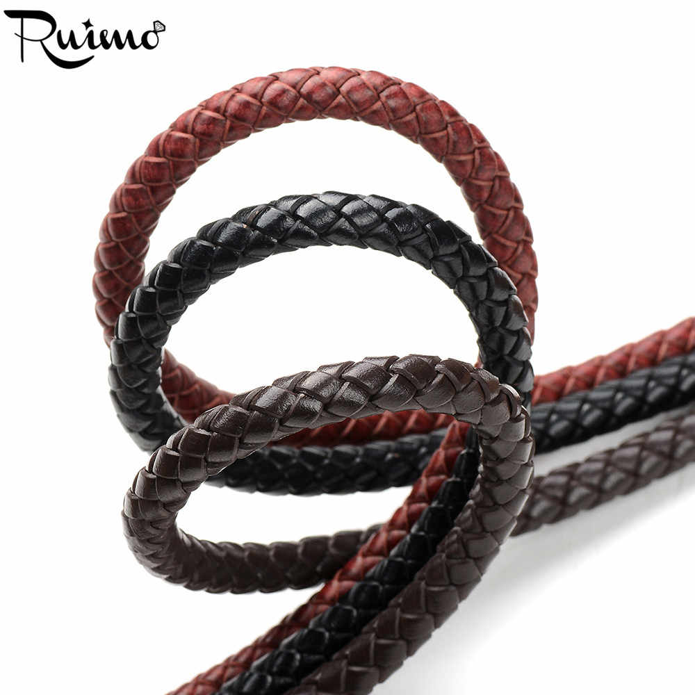 RUIMO Leather Cords 8mm Round Braided Genuine Leather Cord For Bracelets Making