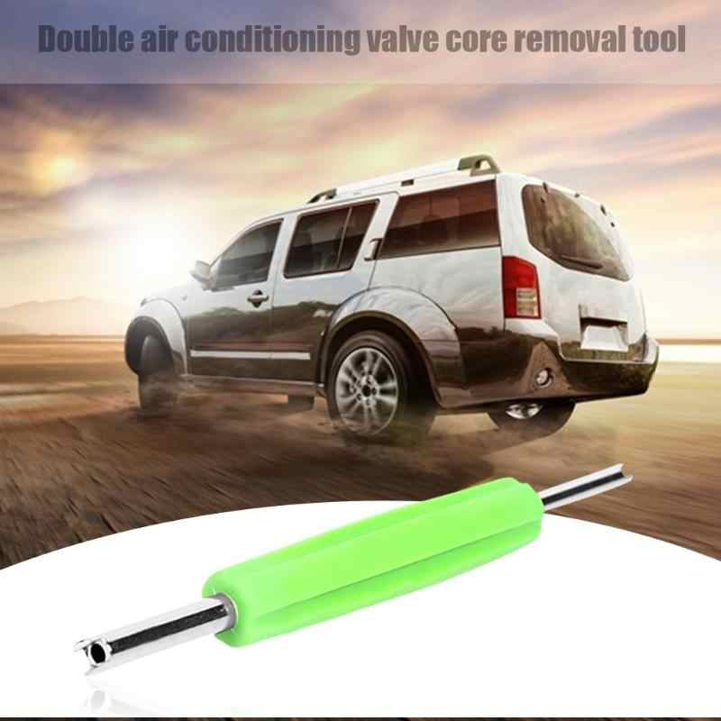 Dual Schrader Valve Core Remover Installer Tire Repair HVAC Service Tool Green
