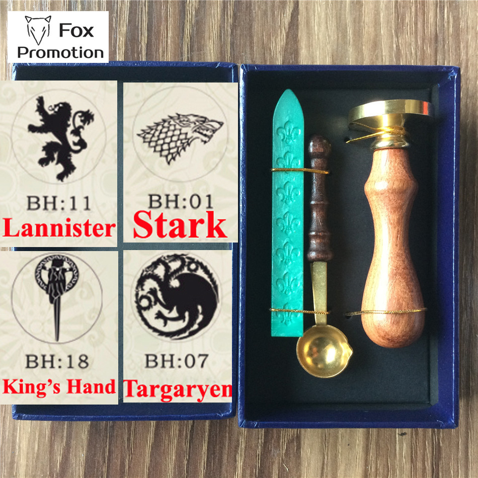 New Hot Game Of Thrones Wax Seal Stamp Wax Spoon Gift Box Scrapbooking DIY Ancient Seal