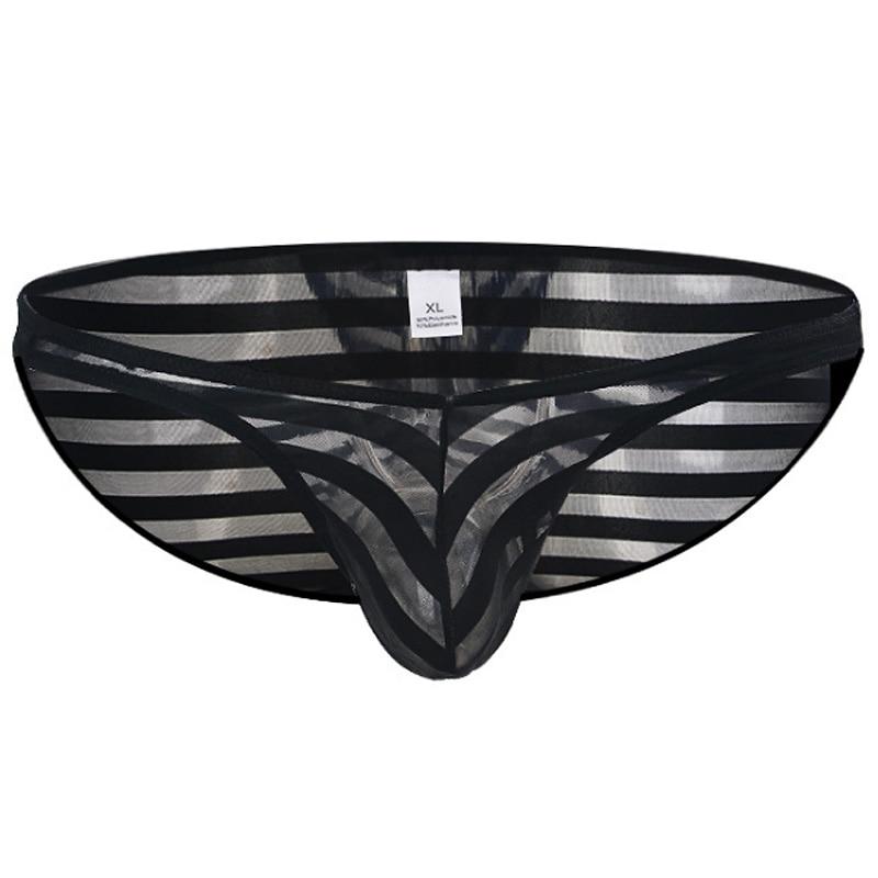 Mens Briefs Panties Mesh Transparent Striped Male Mesh Underwear Slim Sexy Gay U Convex Underpants Men Briefs Slip Shorts Bikini