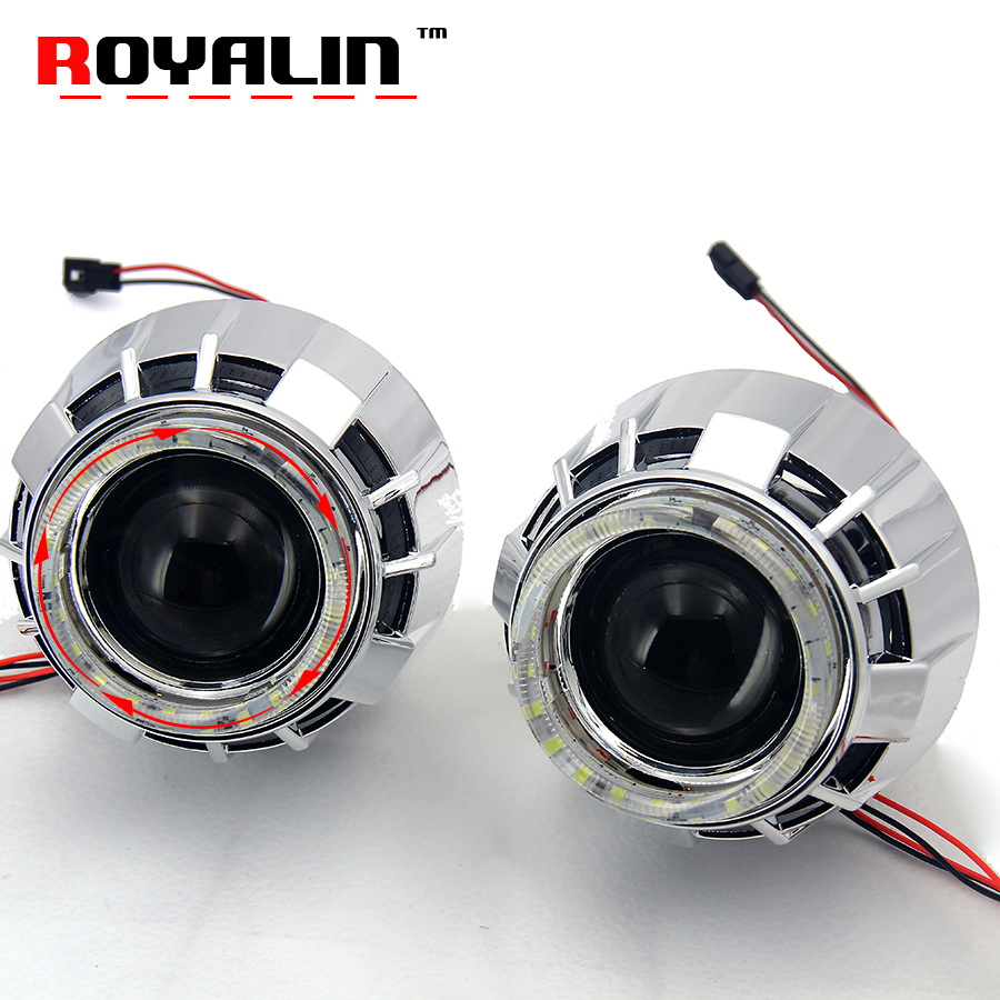 ROYALIN Car Metal Projector Headlights H1 Bi Xenon Lens Double LED COB Flowing Angel Eyes Devil Eye For H4 H7 Auto Lamp Retrofit royalin car styling hid h1 bi xenon headlight projector lens 3 0 inch full metal w 360 devil eyes red blue for h4 h7 auto light