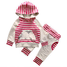 Cute Fashion Newborn Baby Clothes Infant Toddler Bebes Boys Girls Striped Hooded Sweatshirt Tops Pant 2PCS