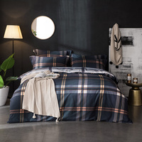 Black plaid stripe Adults queen king size Bedding set 100%cotton Chinese modern 4pcs bed linen duvet cover sheet set 36