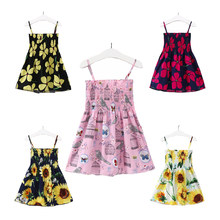 Summer Girl Dress Explosion Models Black and White Powder Sunflower Flowers Bird Cage Sling Strapless Cute Princess Kids Dresses(China)