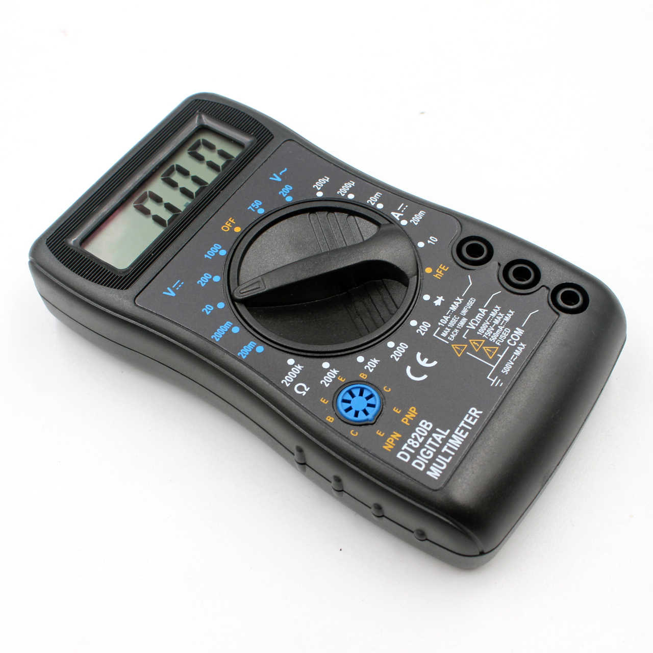 WHDZ DT820B Mini Digitale Multimeter met Overbelasting bescherming Voltmeter Ampere Ohm Tester Probe DC AC LCD Black Gratis verzending