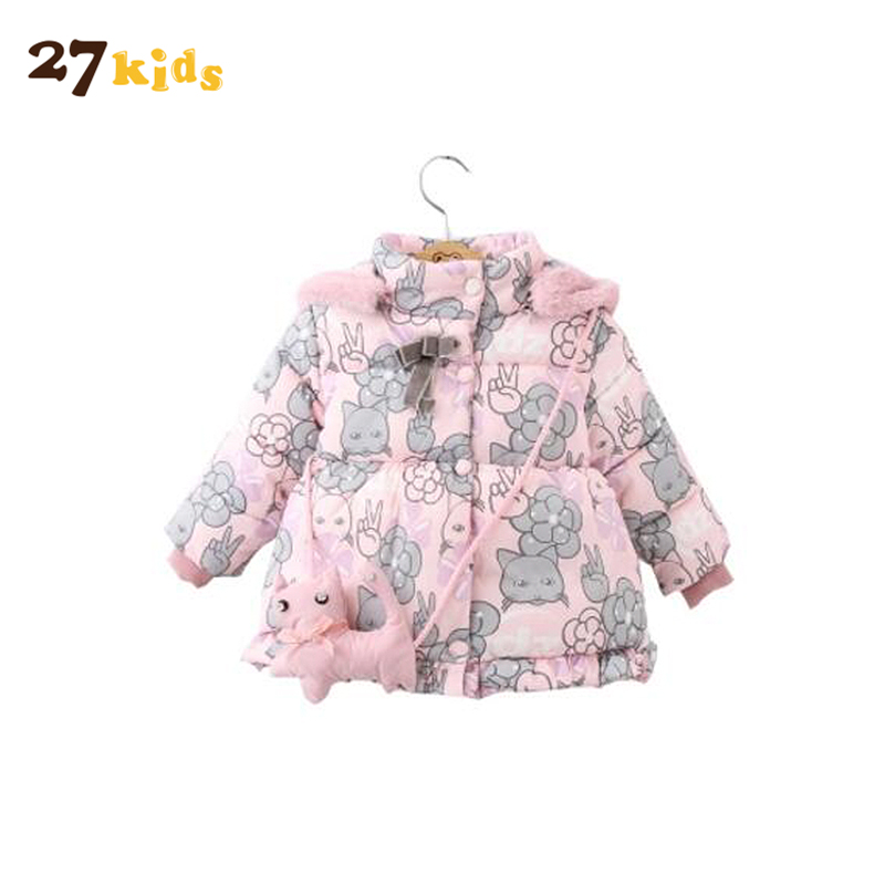 27 Kids Children Clothing Child Winter Thickening Cotton-padded Jacket Kids Down Cotton Coat Baby Princess Flower Hooded Jackets joobox brand men winter jacket mens casual detachable hooded cotton padded coat male thickening warm clothing black and gray