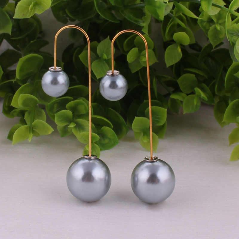 14 Warna Promosi Wanita Pearl Earrings Gaya Baru Ganda Sided Anting Stud Earrings Wanita Hadiah Natal Perhiasan