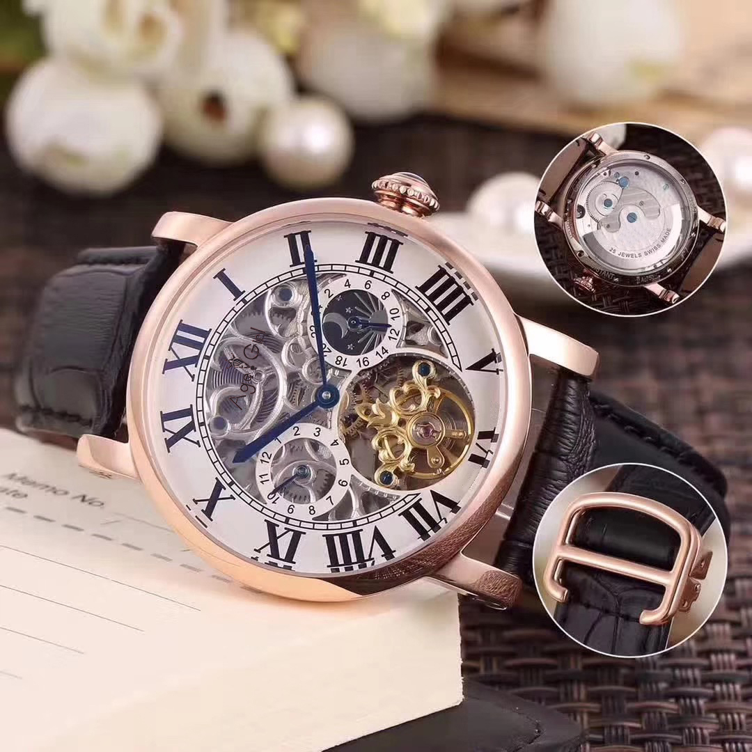 Luxury Brand New Men Automatic Mechanical Watch Rose Gold Diamond Black Leather Tourbillon MoonPhase Dual Time Skeleton SapphireLuxury Brand New Men Automatic Mechanical Watch Rose Gold Diamond Black Leather Tourbillon MoonPhase Dual Time Skeleton Sapphire