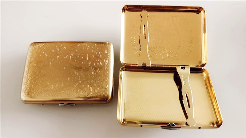 sculpture golden Luxury Cigarette Case Box pocket High Quality gold Retro Metal Smoking Tobacco Box Holder For 16 pcs Cigarettes