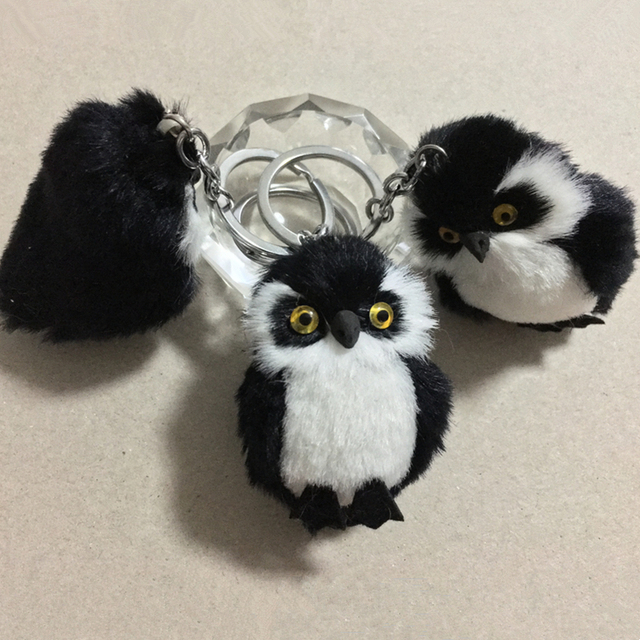 New Fashion Cute Owl Plush Toy Key Chain Ring Faux Rex Rabbit Fur Keychain Woman Bag Charms Man Car Keyring Wedding Party Gift 5