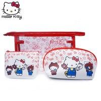 3pcs/set Hello Kitty Plush Purses Women Make Up Bag Cartoon Cosmetic Pouch Travel Makeup Case Box Toiletry Organizer Coin Wallet
