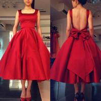 Vintange Tea Length Red Prom Dress 2019 1950's Prom Gown Backless Short Evening Prom Dress Bow Knot vestidos de graduacion